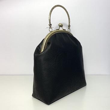 Fekete textilbőr táska hátulról