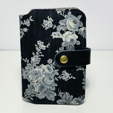 Fekete rózsás papírzsebkendő tartó  ZSE03