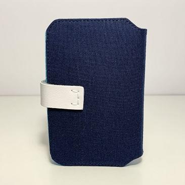 Kék szellővirág zsebkendő tartó hátulja